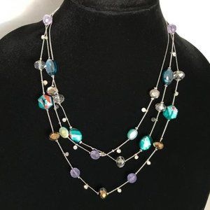 Silver Tone Triple Strand Layered Beaded Necklace